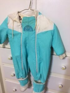Warm snowsuit with attached booties