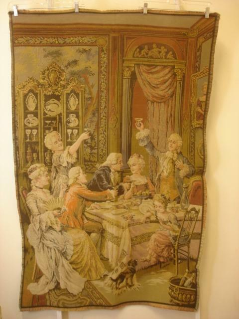 """Antique French Tapestry Made in France 38"""" X 59"""" Baroque Rococo"""