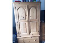Good quality pine wardrobe with drawers