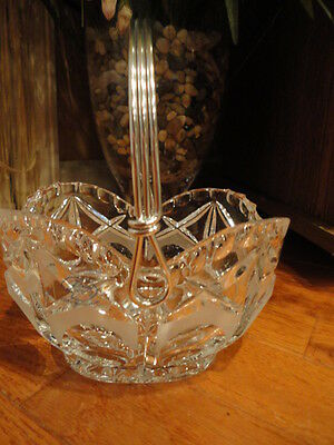 "Price Company Crystal Basket Metal handle Heavy Cut Frosted Etched 3-1/2""t"