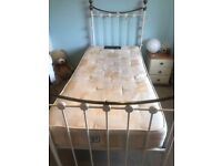 CREAM/IVORY WROUGHT IRON SINGLE BED - ADJUSTABLE HEIGHT GREAT CONDITION
