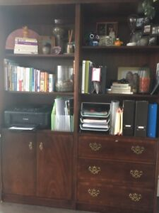 desk with chair, shelf unit, hutch with mirror display cabinet