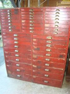 Antique Parts Organizer Chest