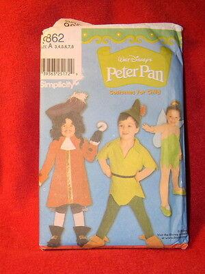 Simplicity 9862 Disney Peter Pan Tinkerbell Captain Hook Pattern Kid 3 4 5 6 7 8