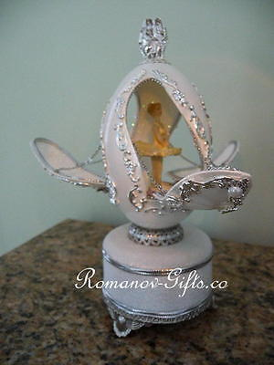 "Russian Imperial Ballerina music box Egg plays:  ""SWAN LAKE""  & Pendant Necklace, used for sale  Highlands"