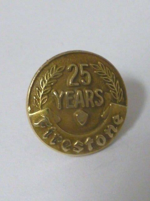Vintage Firestone 25 year Employee Service Award 14K Tie Tack