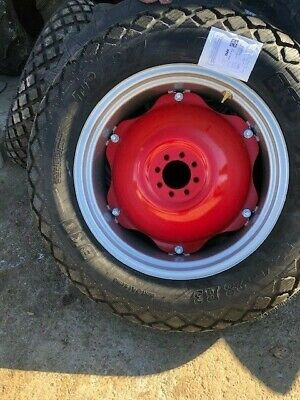Two 12.4x28 12.4-28 8ply Turf Tires Wwheel Red Center - Massy Ferguson 50 -