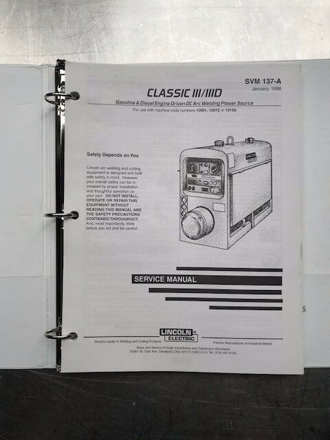 Lincoln Electric Classic III and IIID Service Manual SVM137A