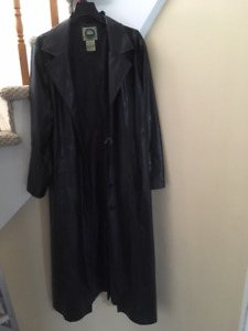 Full Length faux Leather Trench Coat