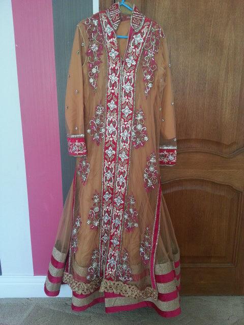 4 Piece Wedding Dress Gold/Pink & Shiny Silver Embroidery Pakistani/Asian/Indian