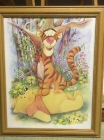 Winnie the Pooh and Tigger pine framed picture