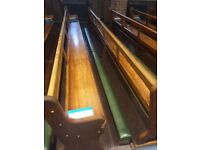 church solid oak wooden pew/bench 4 metres length