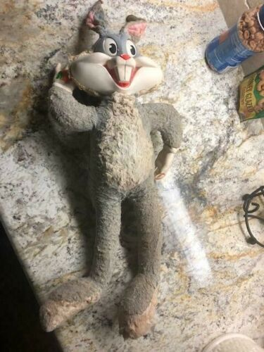 Vintage 1964 Mattel Bugs Bunny Talking Plush Doll Pull String Rubber Face