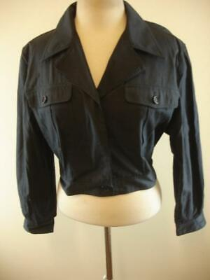 Womens 4 6 sz 40 Gucci Italy Vtg navy blue 100% cotton jacket military button-up