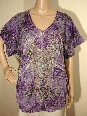 FASHION BUG M Oversize Purple Burnout Sublimation V-Neck Short Sleeve Tee Shirt Bug Short Sleeve Tee