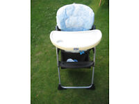 Chicco High Chair - With removable Tray & under basket - Blue