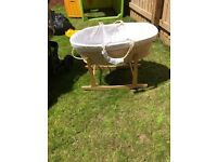 BABY MOSES BASKET AND WOODEN STAND