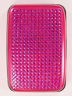 Business Card Case Credit Card Holder Pink Crystal Lid With Accordion Pockets
