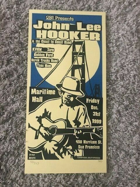 1999 JOHN LEE HOOKER DEREK TRUCKS KIMOCK NYE CONCERT POSTER MARITIME FILLMORE