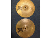 Rare Zildjian K Custom special dry 13 inch hi hats (early models)