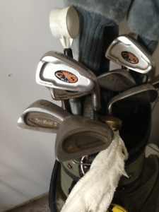 Full set Golf clubs, Bag and pull cart