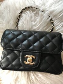 Womens CC Small Mini Classic Flap Handbag Shoulder Bag Quilted Designer  Inspired Bags Black Gold a79231eb3981a