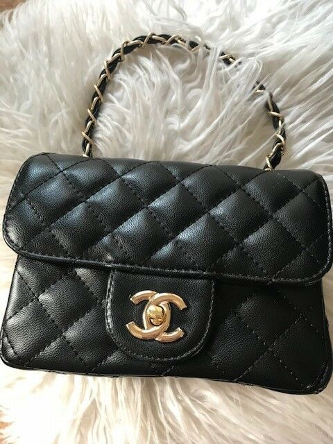 fa946a688c2c Womens CC Small Mini Classic Flap Handbag Shoulder Bag Quilted Designer  Inspired Bags Black Gold