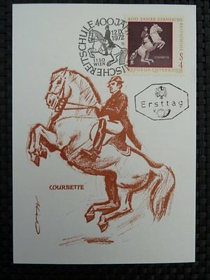 AUSTRIA MK 1972 1400 REITSCHULE MAXIMUMKARTE MAXIMUM CARD MC PFERD HORSE a8524