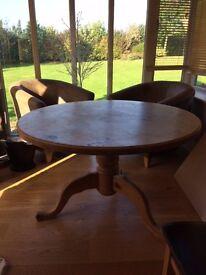Round wooden kitchen table seats 5