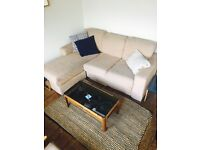 REDUCED - L shaped sofa - beige. Must be sold by 17.05
