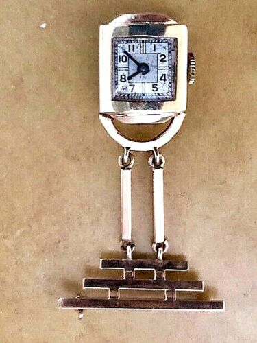 Vintage LADIES   10K YELLOW GOLD  LAPEL  WATCH TESTED AND RUNNING 7.41 Grams