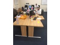 QUALITY CONDITION OFFICE FURNITURE - 16 desks, 16 chairs, filing cabinet x2, bookshelf and cupboard