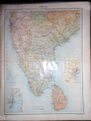Original Antiquarian Map of Southern India c1912 inc Ceylon, Bombay & Madras