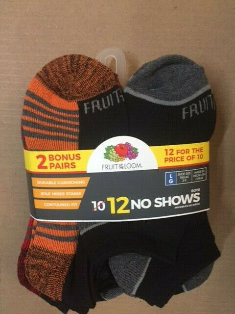 Fruit of the Loom Boys Flat Knit No Show Socks, 12 Pair, Bla