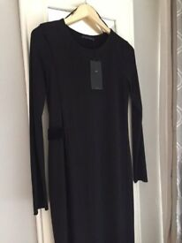 New with tags ZARA black full length thigh split dress
