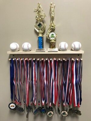 Award Medal Display Rack Trophy Shelf 18 / 36 Medals Ball Holder Natural Wood for sale  Shipping to India