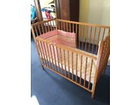 Baby cot, mattress and bumper for sale