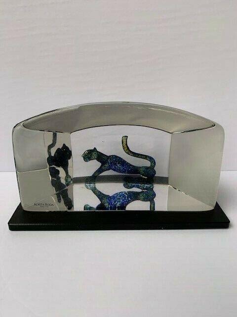 """Kosta Boda Black Panther Glass Sculpture (Bertil Vallien """"Viewpoints"""")"""