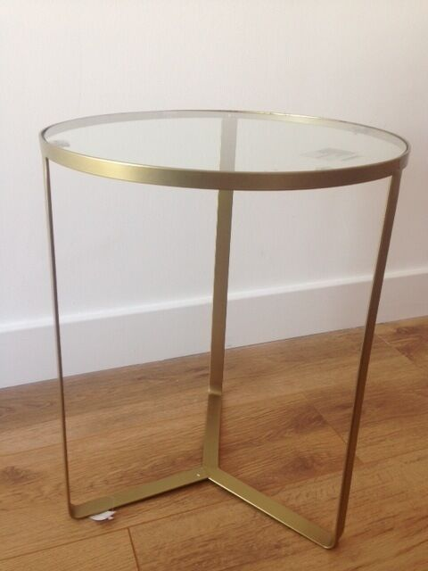 """""""OLIVIA"""" GOLD AND GLASS SIDE TABLE BEDSIDE TABLE NEVER"""