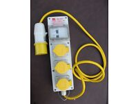 RS 110V-16A 3 Gang Socket, 16A, 130 V With Rcd Protection