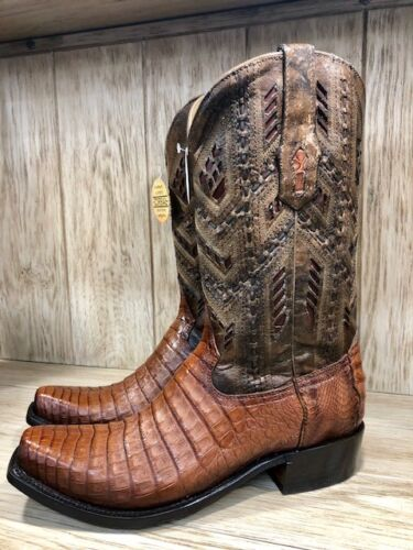 Corral, Mens, Caiman, Honey, Fuscus, Inlay, Narrow, Square, Toe, Western, Boots, A3470