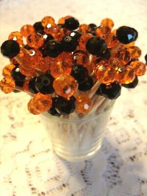 Halloween Wedding Food (Black Orange Halloween Crystal Toothpicks Wedding Dinner Food Picks)