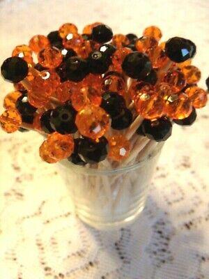 Black Orange Halloween Crystal Toothpicks Wedding Dinner Food Picks Appetizer ()