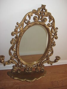 Gold Mirror with Shelf and Candle Holders West Island Greater Montréal image 1