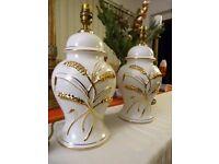 Vintage Antique Porcelain Ginger Jar Table Lamps