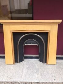 Light wood fire surround and insert