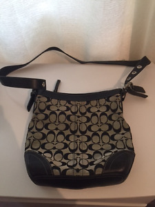 Black/Gray Coach Purse with long strap