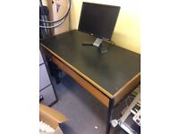 Office desk old style wooden two drawers
