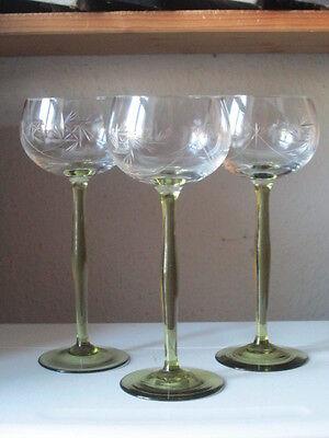 3 Stück Jugendstil Stängelglas Weinglas  Rieslingglas geschliffen