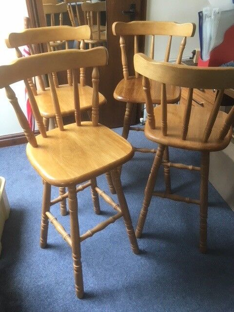 Awe Inspiring 4 Pine Bar Stools With Backs Seat 70Cm 27 5 Inch High Great Condition In Malvern Worcestershire Gumtree Inzonedesignstudio Interior Chair Design Inzonedesignstudiocom